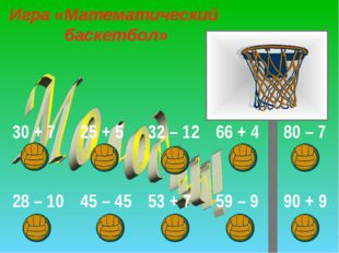 Игра «Математический баскетбол» 30 + 725 + 532 – 1266 + 480 – 7 28 – 10