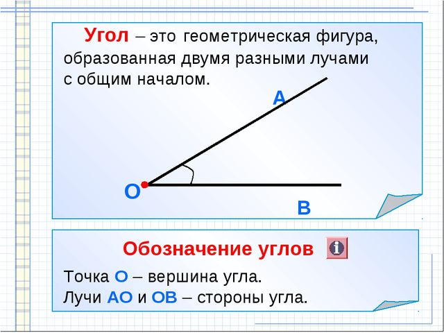 Угол – это геометрическая фигура, образованная двумя разными лучами с общим...