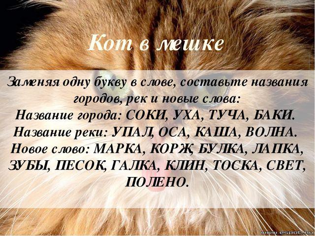 Кот в мешке Заменяя одну букву в слове, составьте названия городов, рек и нов...