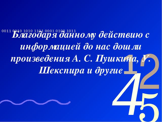Благодаря данному действию с информацией до нас дошли произведения А. С. Пушк...