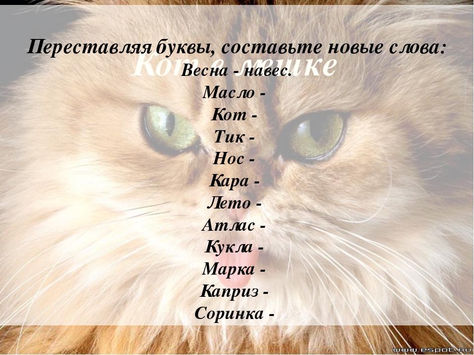 Кот в мешке Переставляя буквы, составьте новые слова: Весна - навес. Масло -...
