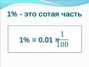 1% - это сотая часть 1% = 0.01 =
