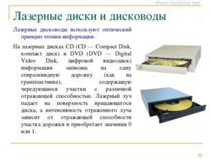 Лазерные диски и дисководы Лазерные дисководы используют оптический принцип ч