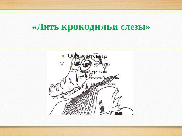 «Лить крокодильи слезы»
