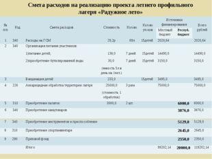 Смета расходов на реализацию проекта летнего профильного лагеря «Радужное лет