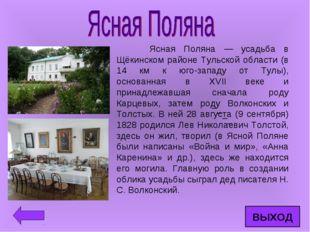 Ясная Поляна — усадьба в Щёкинском районе Тульской области (в 14 км к юго-за