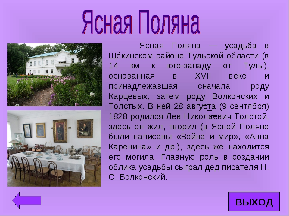 Ясная Поляна — усадьба в Щёкинском районе Тульской области (в 14 км к юго-за...