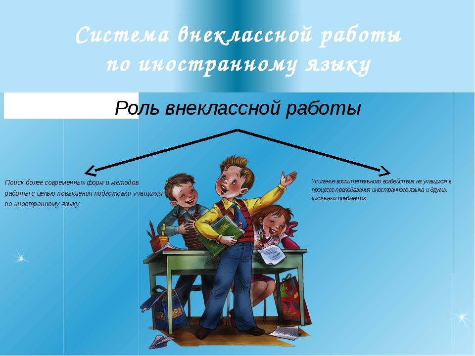 Система внеклассной работы по иностранному языку Роль внеклассной работы Поис...