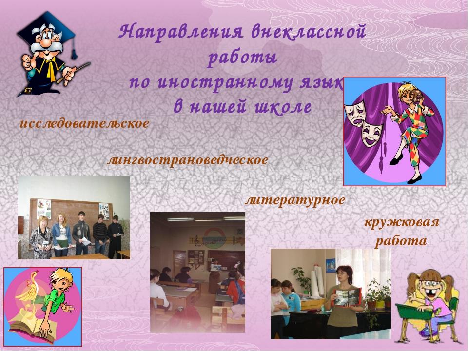 Направления внеклассной работы по иностранному языку в нашей школе исследоват...