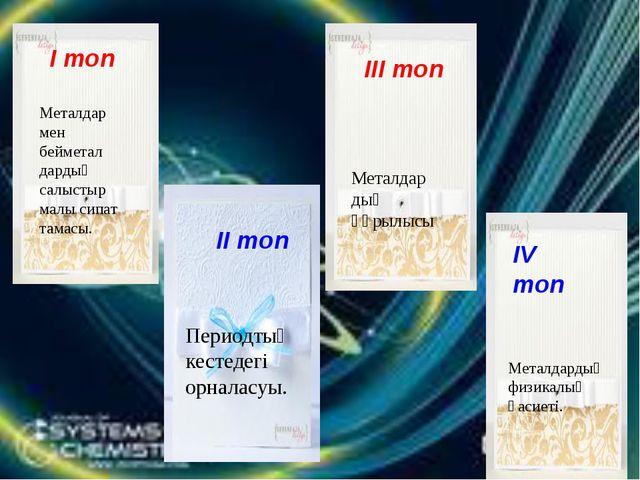 І топ ІІ топ Сәйкесін табыңыз ІІІ топ ІІ топ ІІI топ ІV топ Металдар мен бейм...