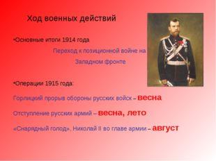 Ход военных действий Основные итоги 1914 года Переход к позиционной войне на