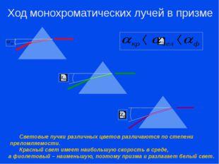 Ход монохроматических лучей в призме Световые пучки различных цветов различ