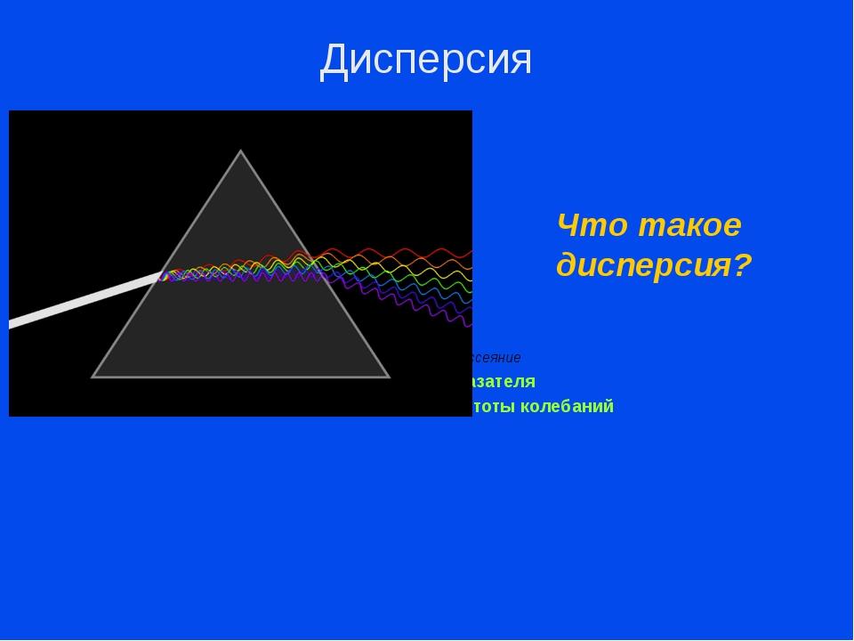 dispersion (лат.) – рассеяние Зависимость показателя преломления света от ча...