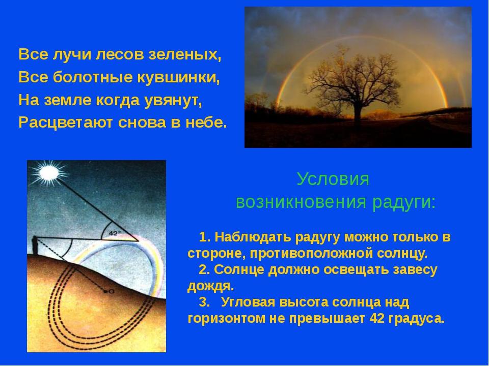 Условия возникновения радуги: Все лучи лесов зеленых, Все болотные кувшинки,...