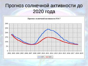 Прогноз солнечной активности до 2020 года