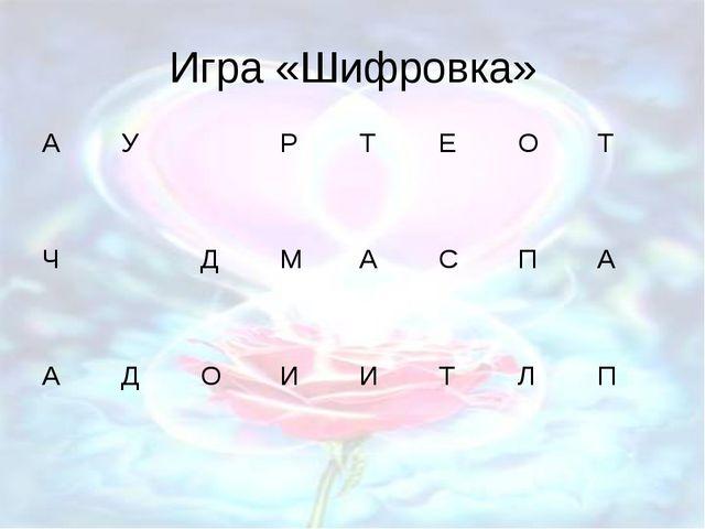 Игра «Шифровка»