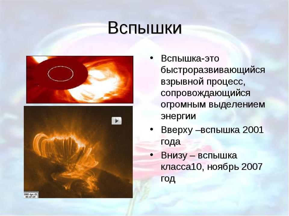 Вспышки Вспышка-это быстроразвивающийся взрывной процесс, сопровождающийся ог...