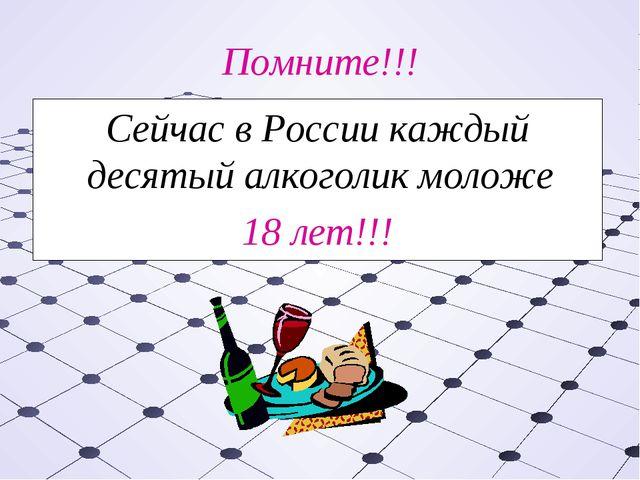 Помните!!! Сейчас в России каждый десятый алкоголик моложе 18 лет!!!