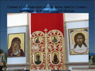 Справа от Царских врат всегда икона Христа. Слева – всегда икона Марии, Божие