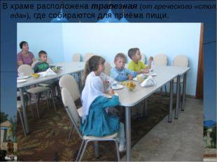 В храме расположена трапезная (от греческого «стол, еда»), где собираются для