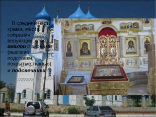 В средней части храма, места собрания верующих, стоят аналои с иконами (высо