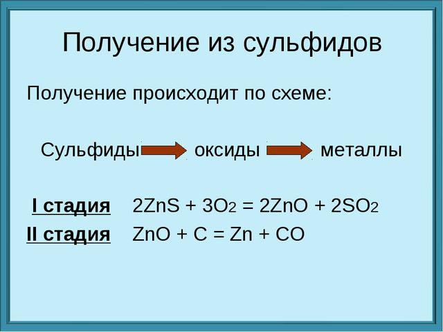 Получение из сульфидов Получение происходит по схеме: Сульфиды          окс...