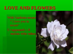 "LOVE AND FLOWERS With Gardenia means "" I love you in secret"" С гарденией « Я"