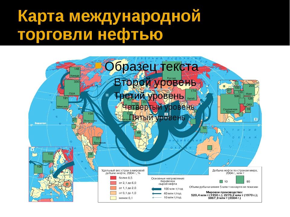 Карта международной торговли нефтью