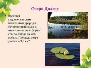 Озеро Долгое Является гидрологическим памятником природы. Естественный водоем