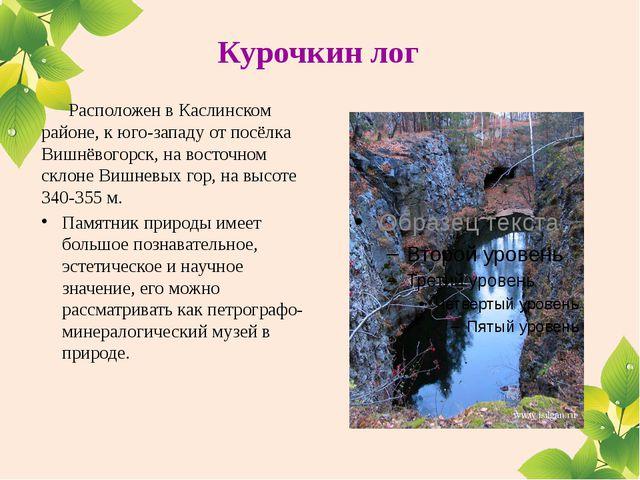 Курочкин лог Расположен вКаслинском районе, кюго-западу отпосёлка Вишнёво...