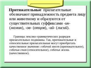 Притяжательные прилагательные обозначают принадлежность предмета лицу или ж