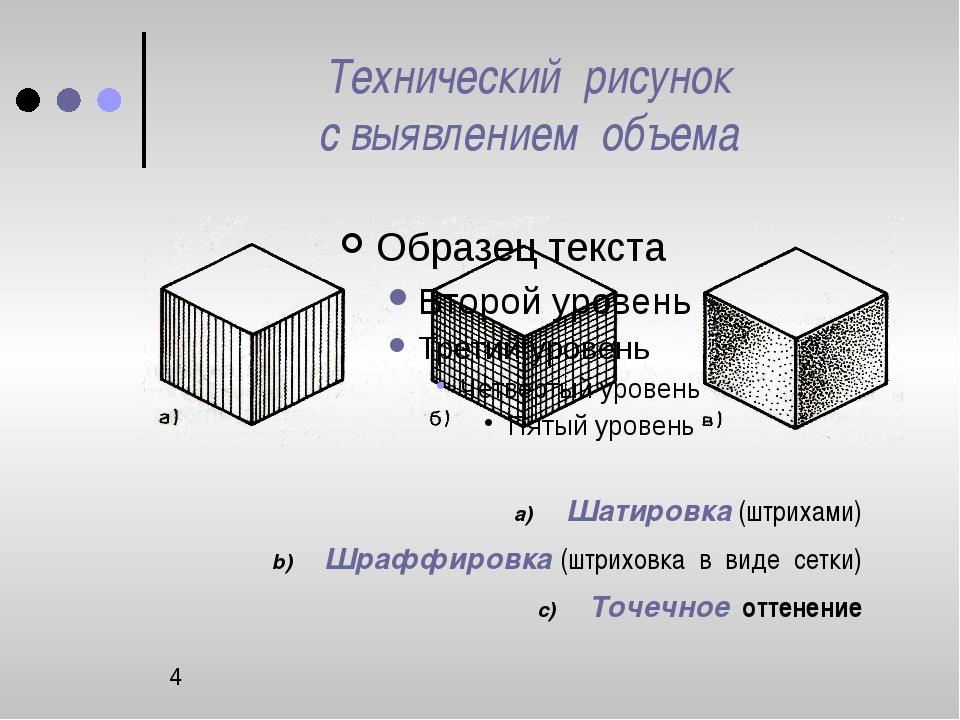 Технический рисунок с выявлением объема Шатировка (штрихами) Шраффировка (шт...
