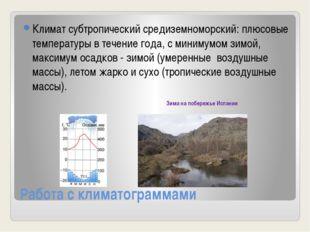 Работа с климатограммами Климат субтропический средиземноморский: плюсовые те