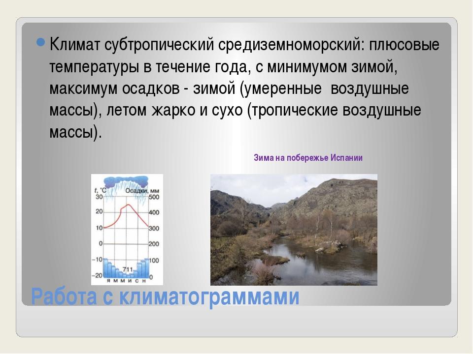 Работа с климатограммами Климат субтропический средиземноморский: плюсовые те...