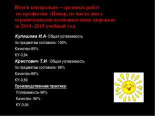 Итоги контрольно – срезовых работ по профессии «Повар, из числа лиц с огранич