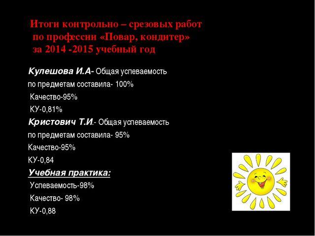 Итоги контрольно – срезовых работ по профессии «Повар, кондитер» за 2014 -201...