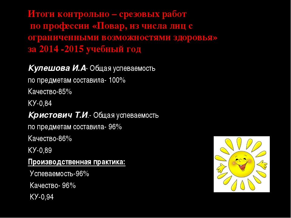 Итоги контрольно – срезовых работ по профессии «Повар, из числа лиц с огранич...