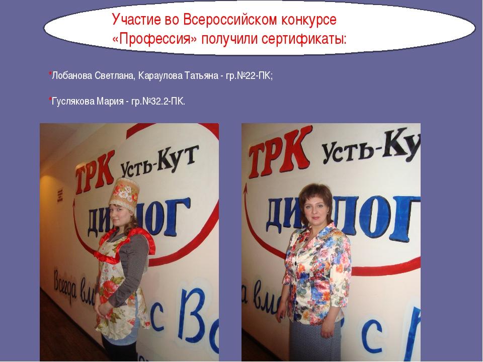 *Лобанова Светлана, Караулова Татьяна - гр.№22-ПК; *Гуслякова Мария - гр.№32...