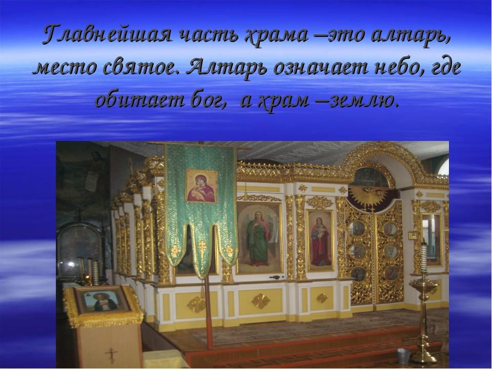 Главнейшая часть храма –это алтарь, место святое. Алтарь означает небо, где о...