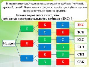 В ящике имеется 3 одинаковых по размеру кубика: зелёный, красный, синий. Выта