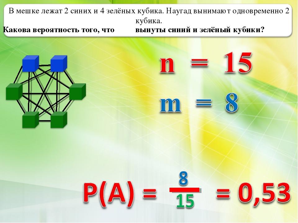 В мешке лежат 2 синих и 4 зелёных кубика. Наугад вынимают одновременно 2 куби...