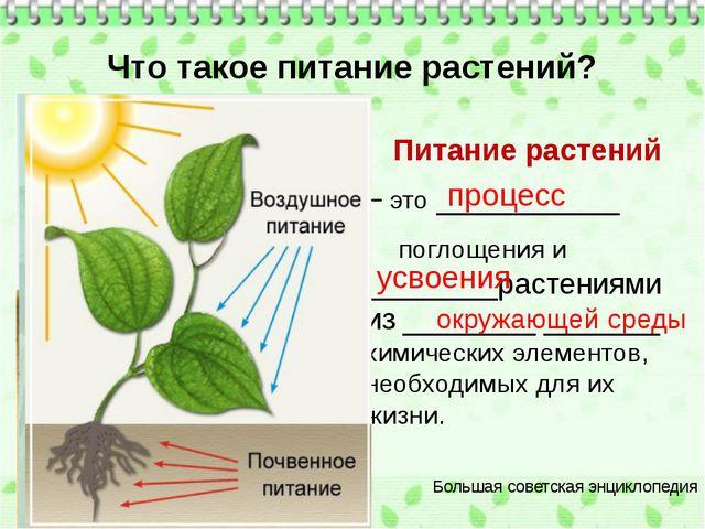 Что такое питание растений? Питание растений – это ___________ поглощения и...