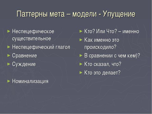 Паттерны мета – модели - Упущение Неспецефическое существительное Неспецефиче...