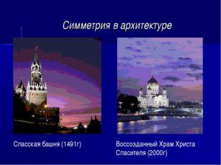 Симметрия в архитектуре Воссозданный Храм Христа Спасителя (2000г) Спасская