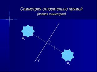 Симметрия относительно прямой (осевая симметрия) Ф1 Ф2 l