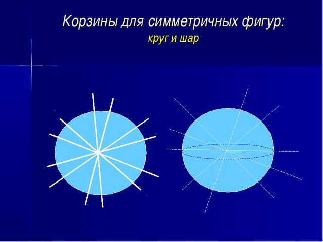 Корзины для симметричных фигур: круг и шар