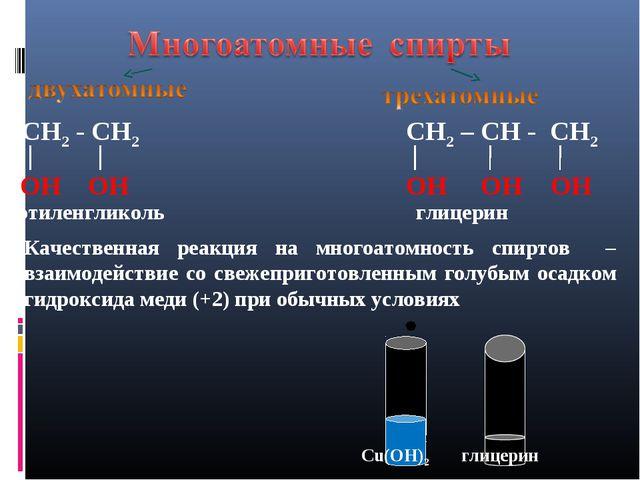 Cu(OH)2 глицерин СН2 - СН2 ОН ОН этиленгликоль СН2 – СН - СН2 ОН ОН ОН глицер...