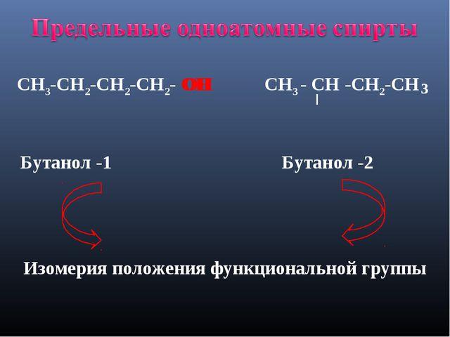 СН3-СН2-СН2-СН2- ОН СН3 - СН -СН2-СН 3 ОН Бутанол -1 Бутанол -2 Изомерия поло...