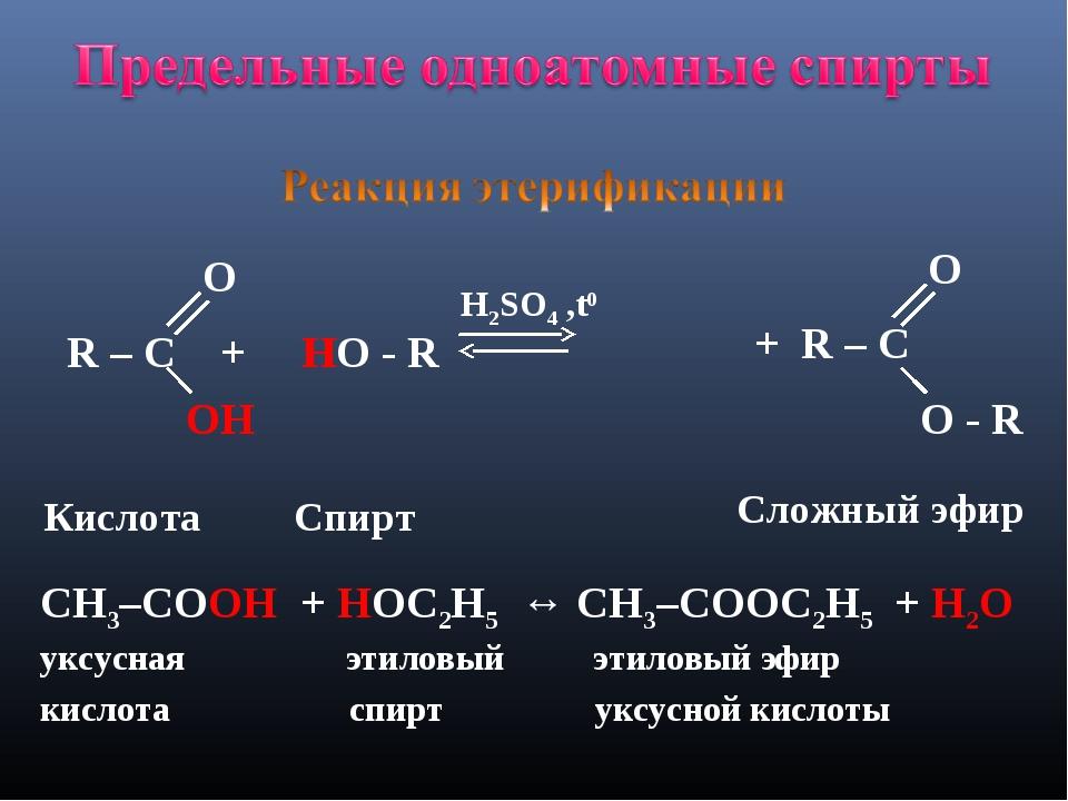 R – C + HO - R H2SO4 ,t0 O ОH OH H Кислота Спирт Сложный эфир CH3–CОOH + HОC...