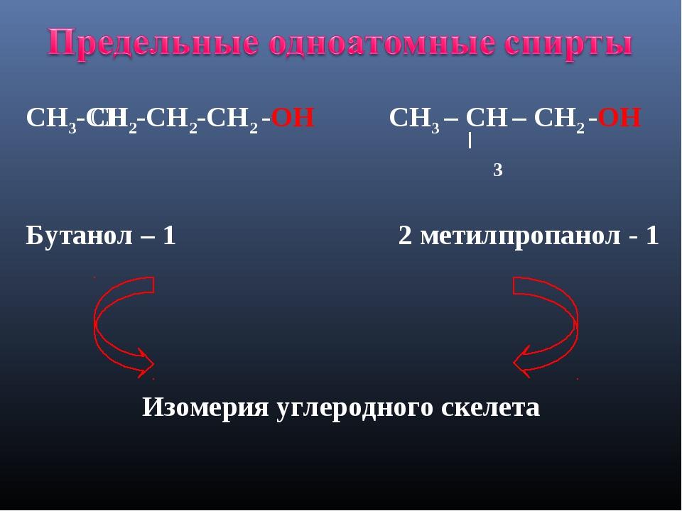 СН3-СН2-СН2-СН2 -ОН СН3 – СН – СН2 -ОН Бутанол – 1 2 метилпропанол - 1 Изомер...